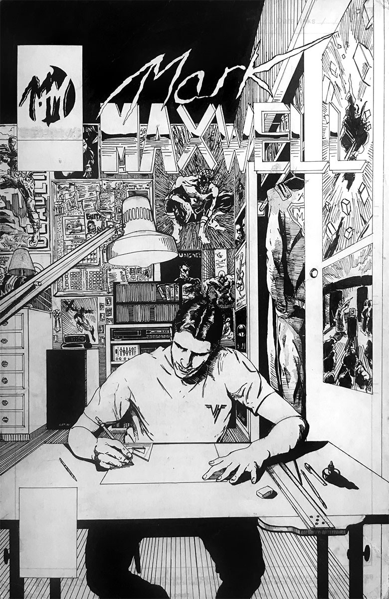 This is a personal piece I did, a self-portrait piece depicted as a comic book cover. Some of the pieces hanging on the wall in the background reflect influences as well as some of my own art.