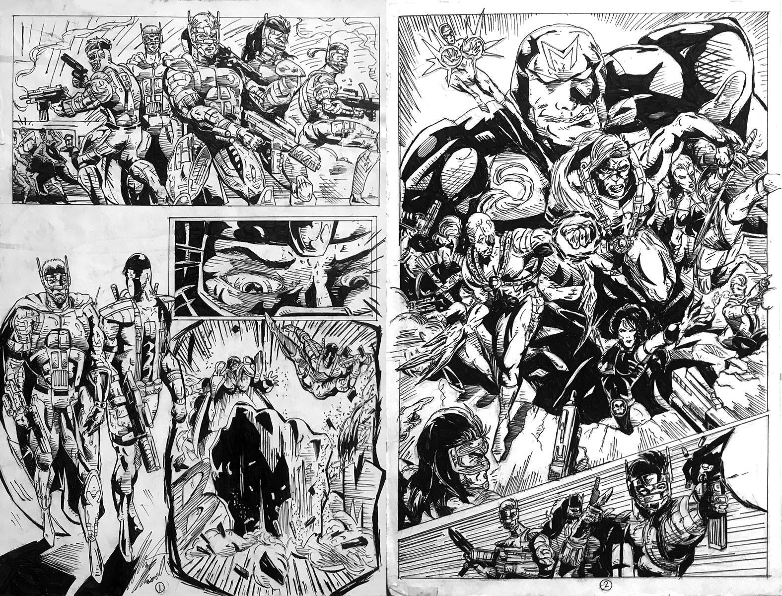 This was a 2-page spread done as a submission to Image comics years ago when they were a single entity as a publisher. This was before I had seen anyone other than Jim Lee draw the WildC.A.T.S.
