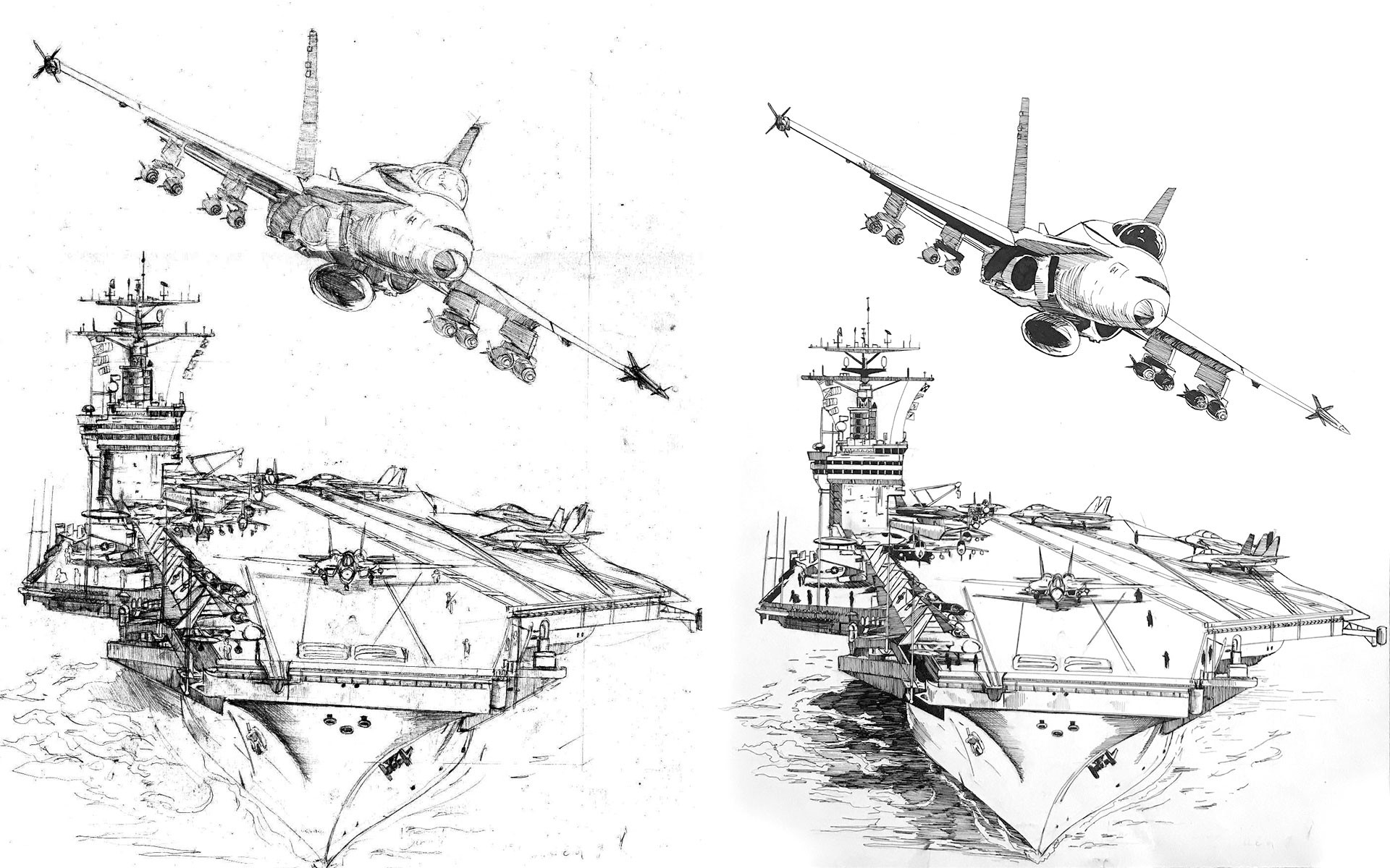 "Original pencils and ink. The plane and carrier were drawn on separate sheets at approximately 10""x14"""