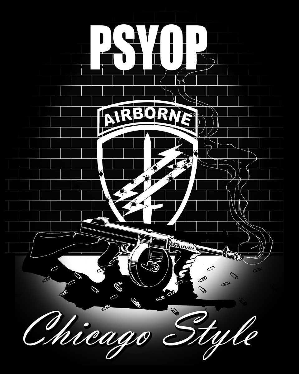 "T-Shirt Design created with vector artwork via Adobe Illustrator. I was new to Psychological Operations (PSYOP) at the time and found out my folly with an original draft that was spelled ""PSYOPS"" with an ""S"". :)"