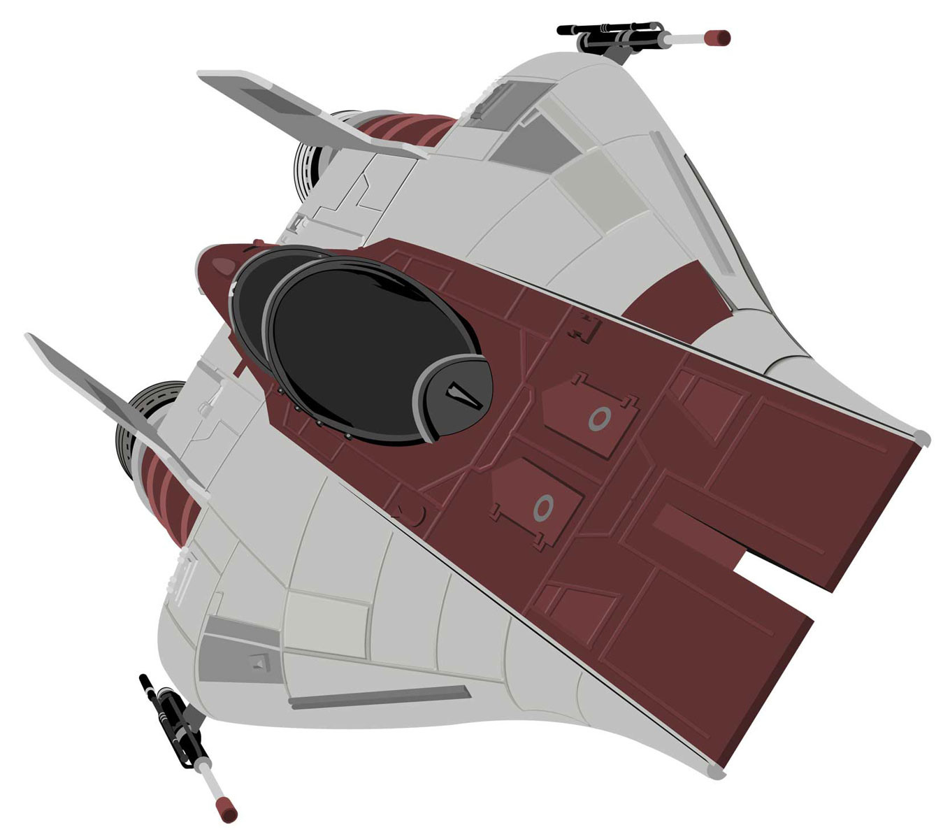 Vector art of an A-Wing done in Illustrator. I had intended to color this in Photoshop similar to the other ships but never finished it.