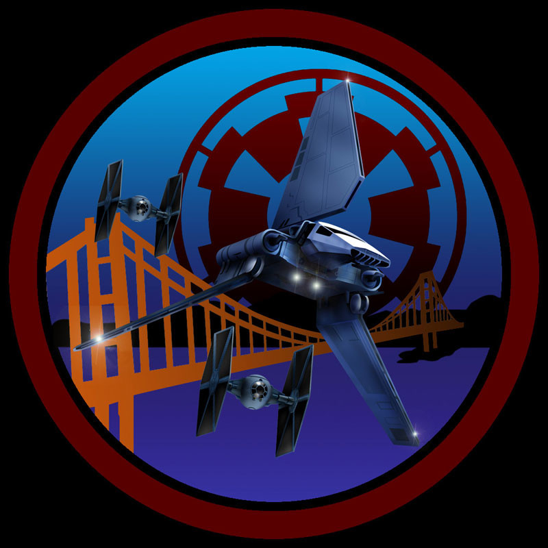 Shuttle and TIE fighter art composited with vector art as a patch design for the San Francisco branch (Golden Gate Garrison) of the 501rst Legion of Stormtroopers