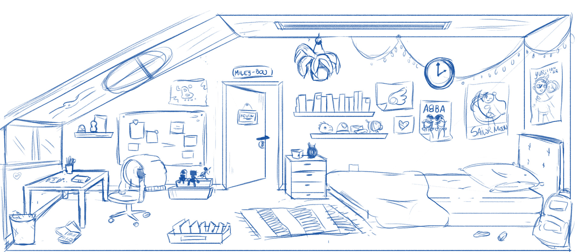 Kevin's Bedroom - Early sketches.