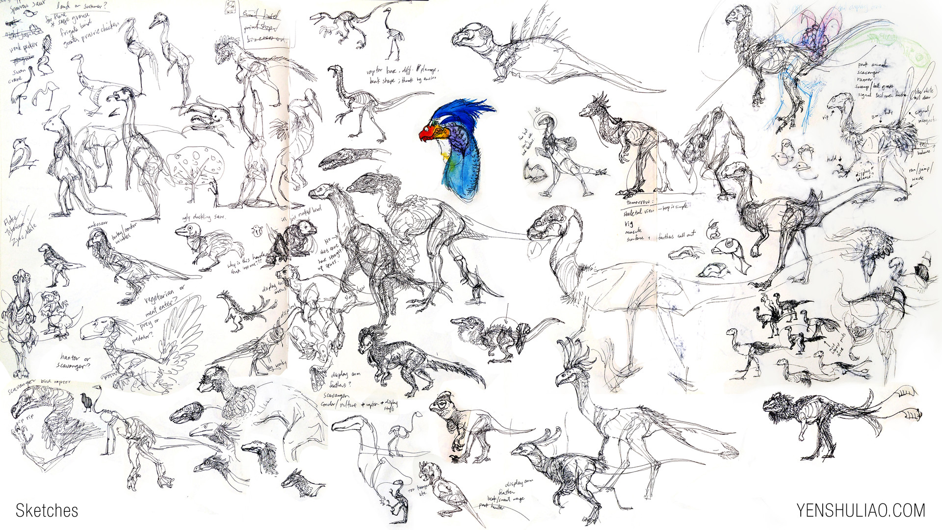 Yen shu liao creature concept sketches raptor bird