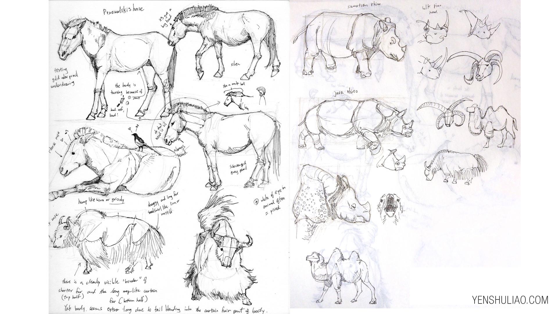 Yen shu liao creature concept art studdy horse