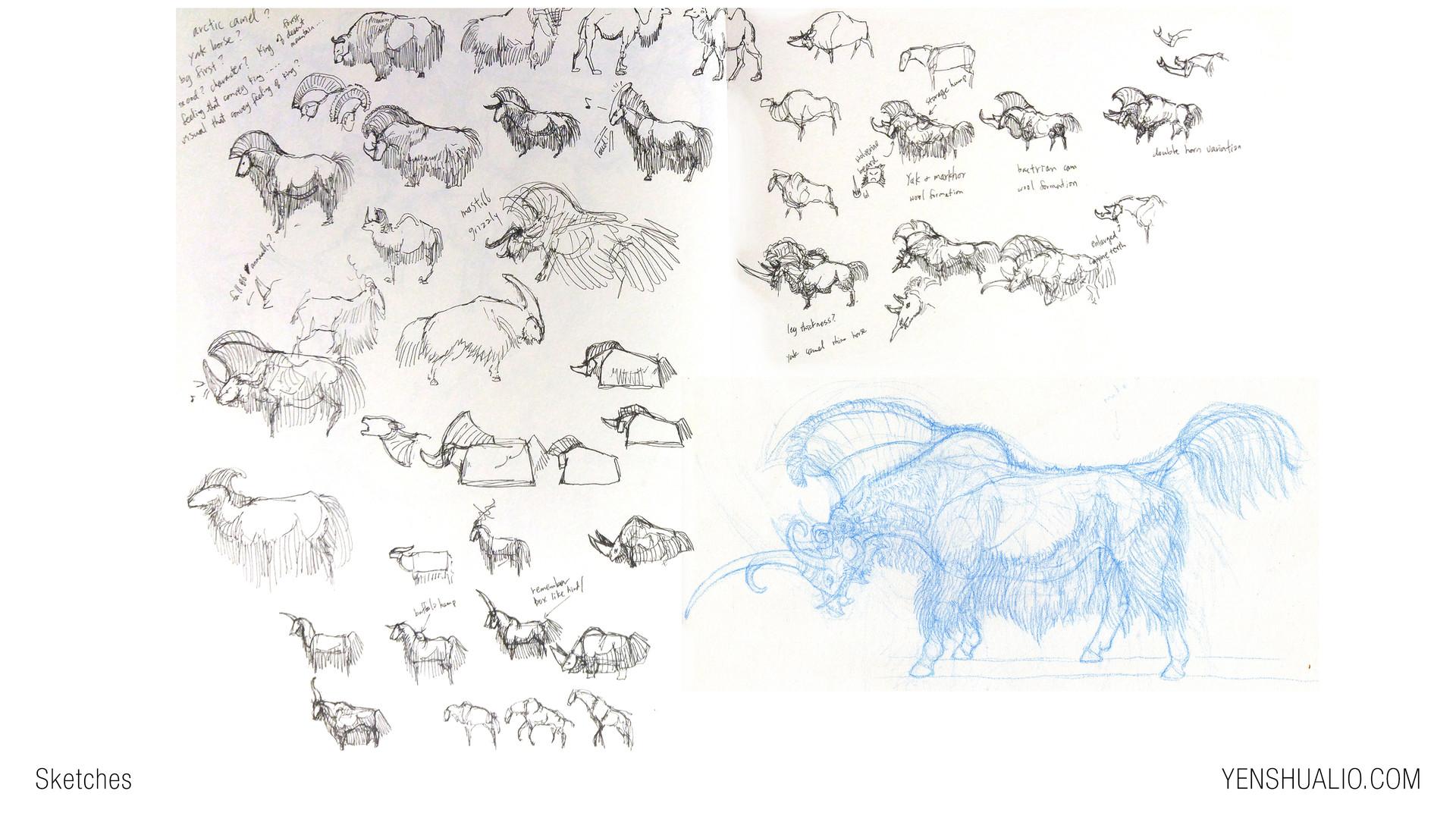 Yen shu liao creature concept art sketch ox