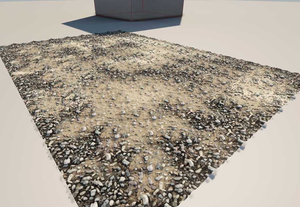 Gravel with sand material mixed in via parametric controls as shown in Unreal
