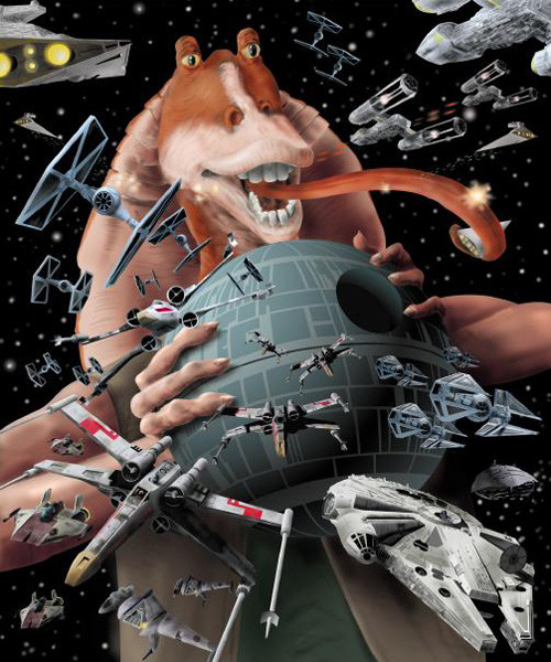 I created this as a direct result of the frustration I felt once the denial wore off in 1999. The ships and death star were created as vector art in Illustrator and shaded in Photoshop. I digitally painted Jar Jar over ink in Photoshop.