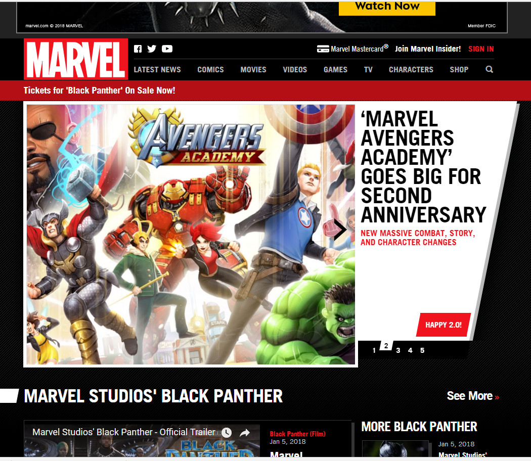 Marvel.com front page on launch day.