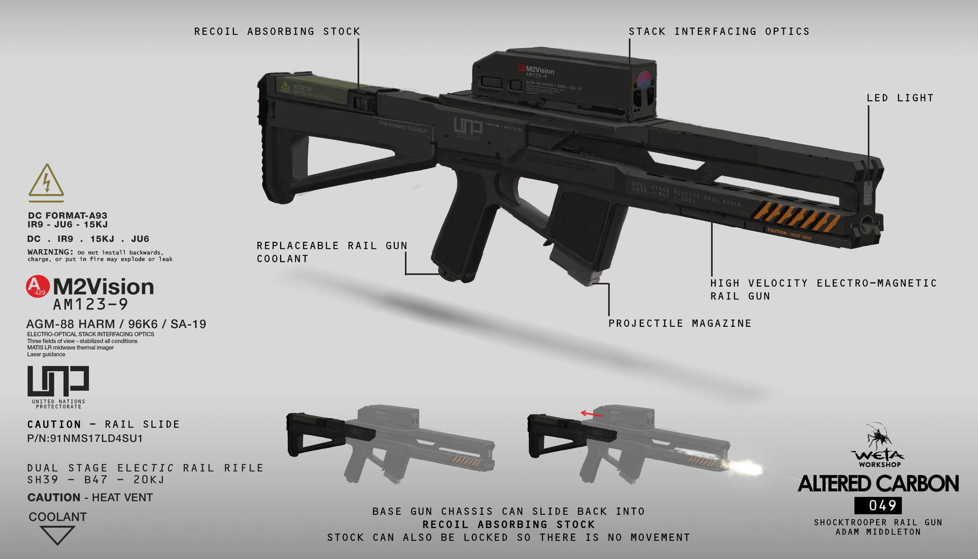 Weta workshop design studio 049 ac shocktrooter railgun 01 breakdown am