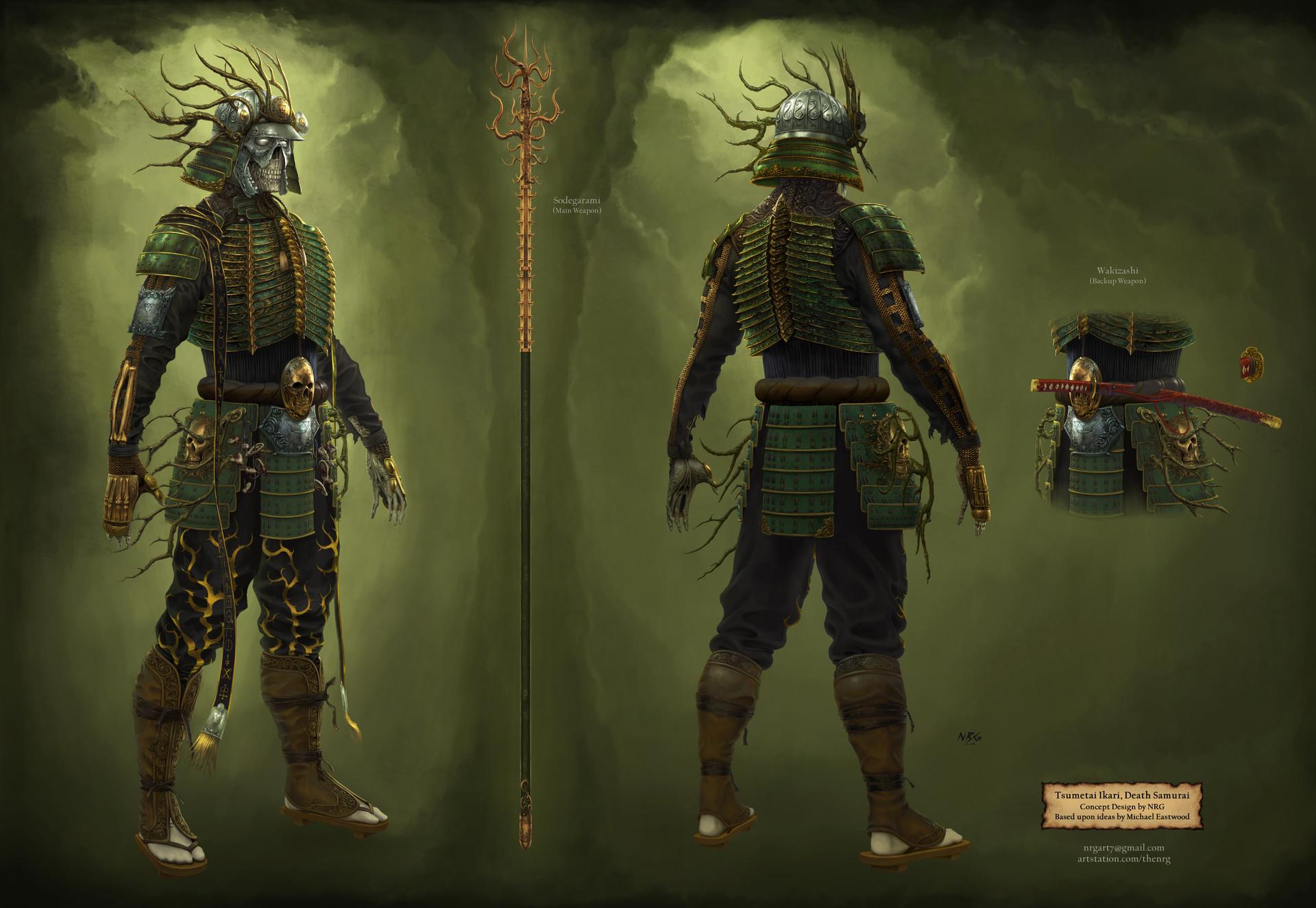 The nrg tsumetai ikari death samurai statue concept design final by nrg web