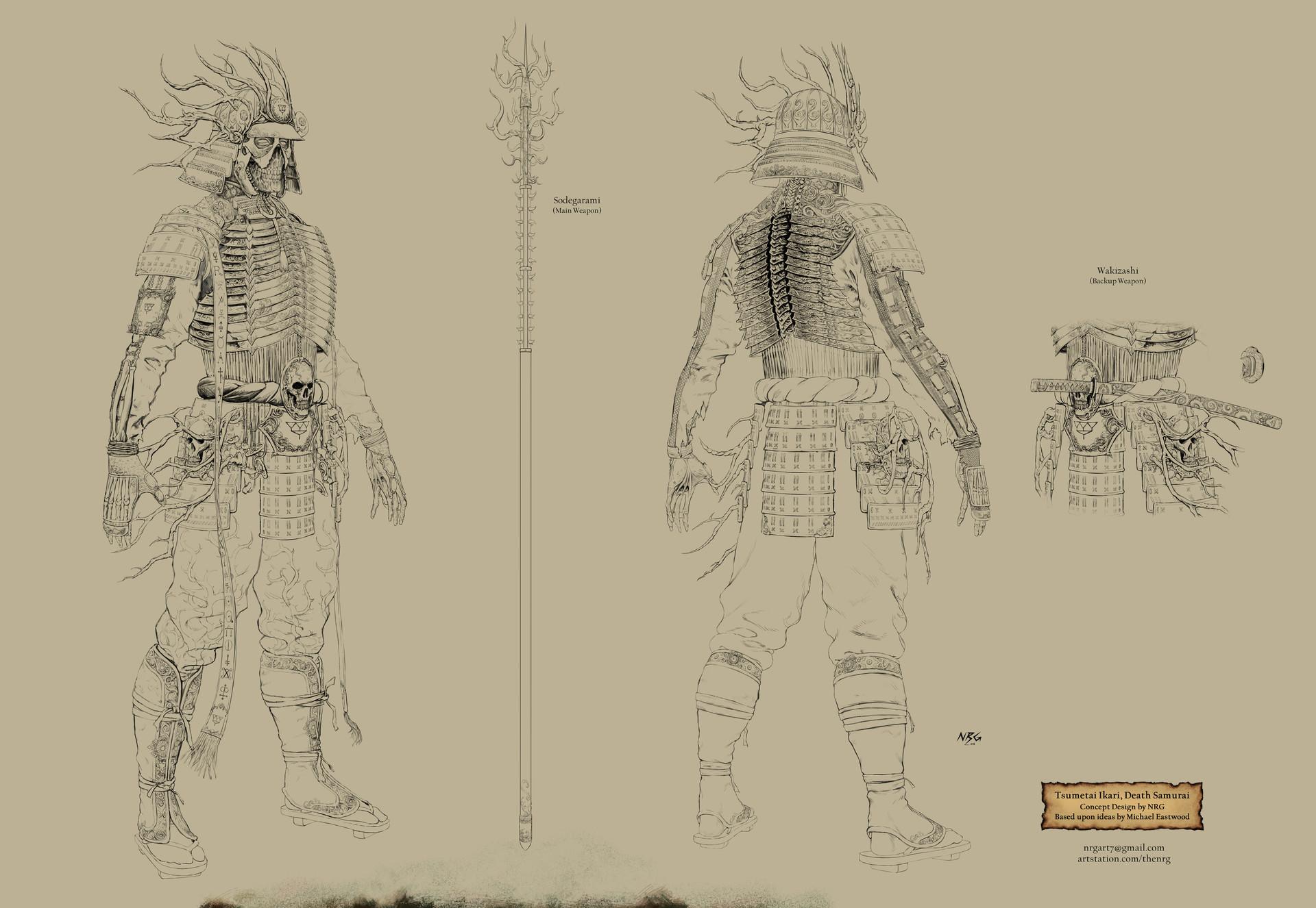 The nrg tsumetai ikari death samurai statue concept design final lineart by nrg web