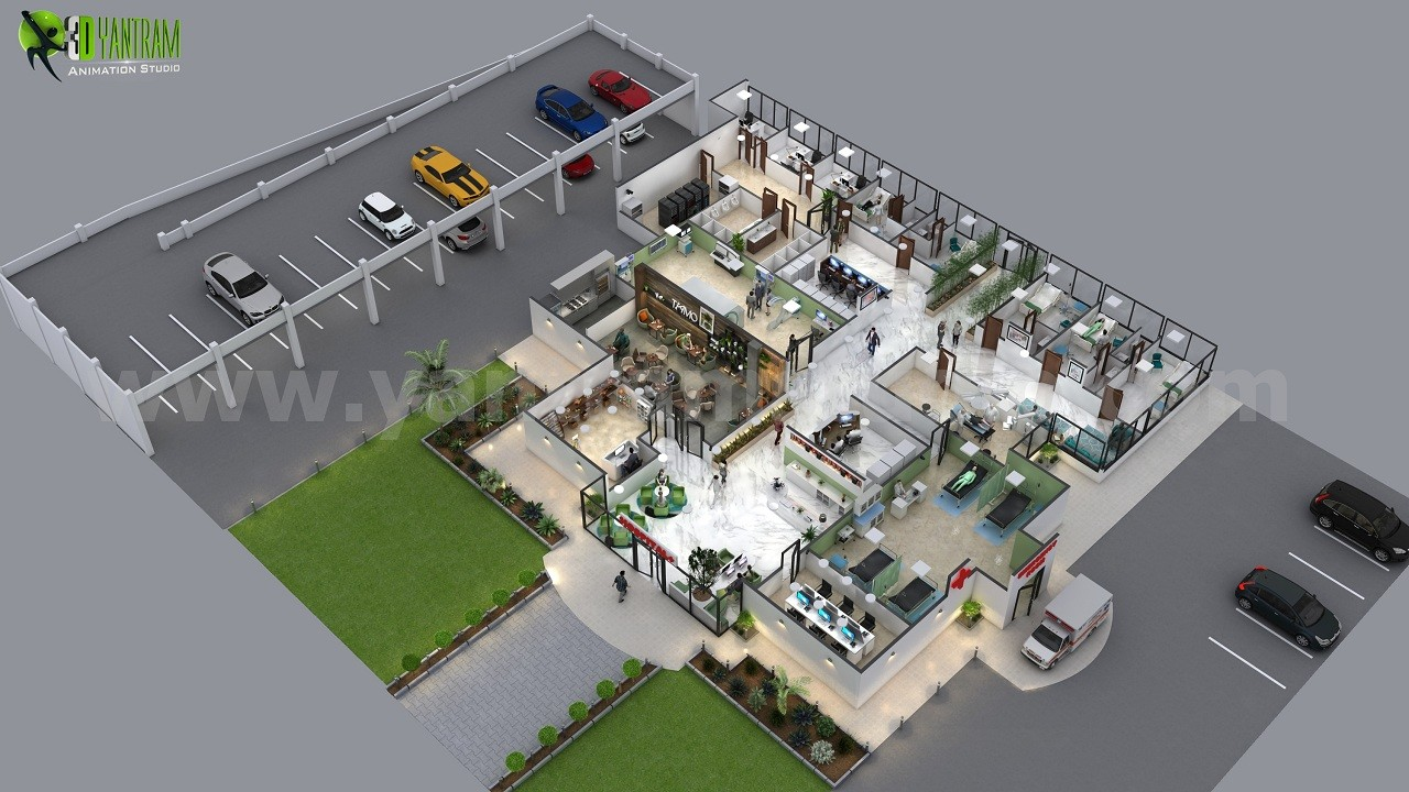 Artstation Impressive Stylish Hospital 3d Floor Plan Design Ideas By Yantram 3d Floor Plan Software Virginia Yantram Architectural Design Studio