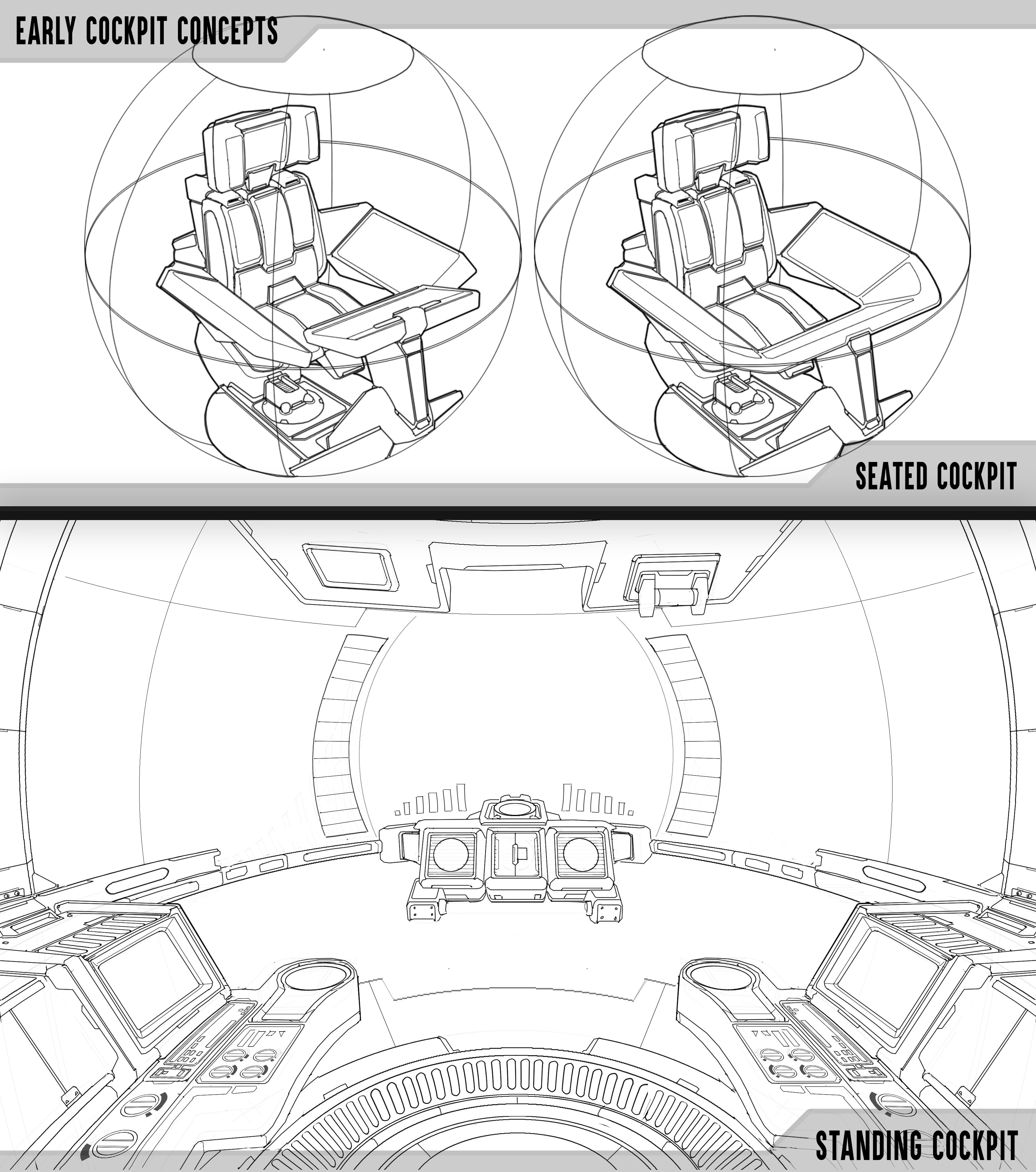 The first iterations of the cockpit designs.