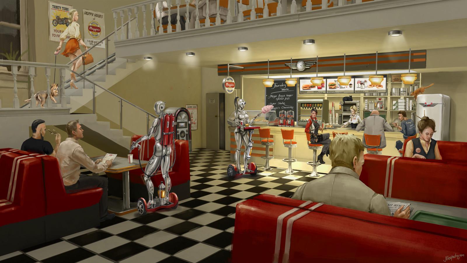Retrofuturistic diner