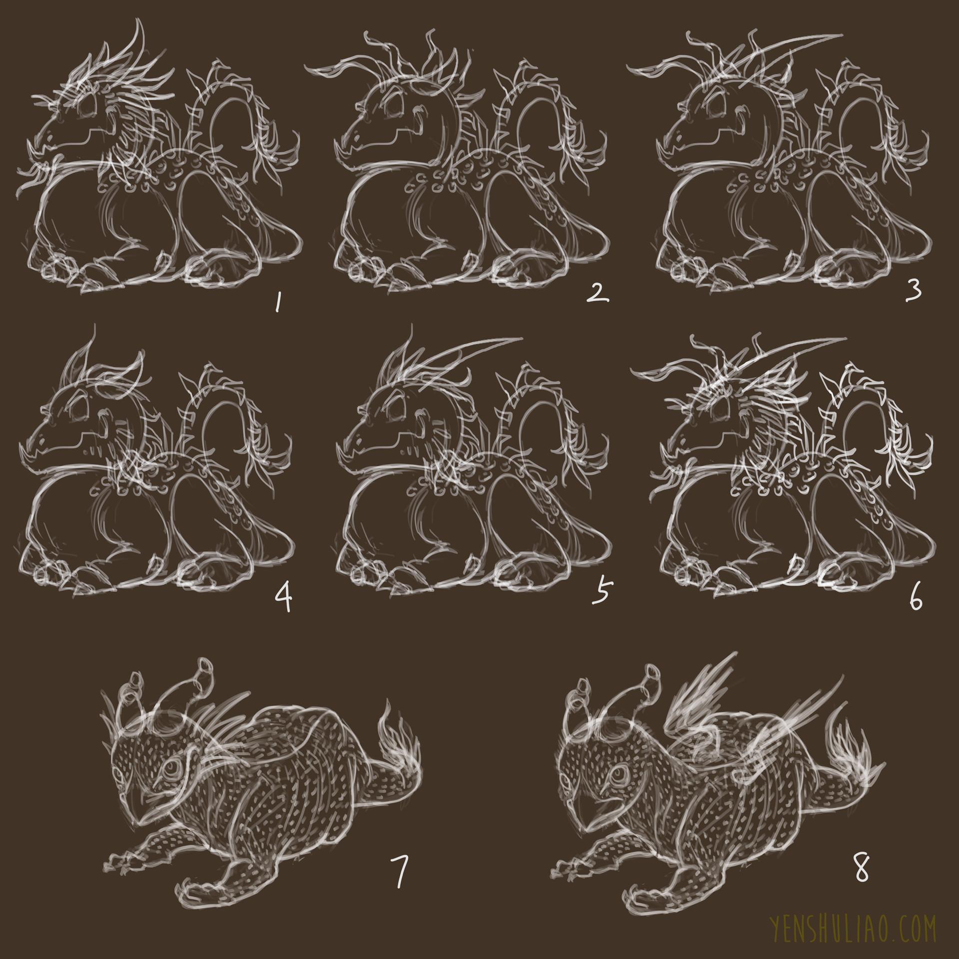 Yen shu liao creature concept strawberry dragon wip