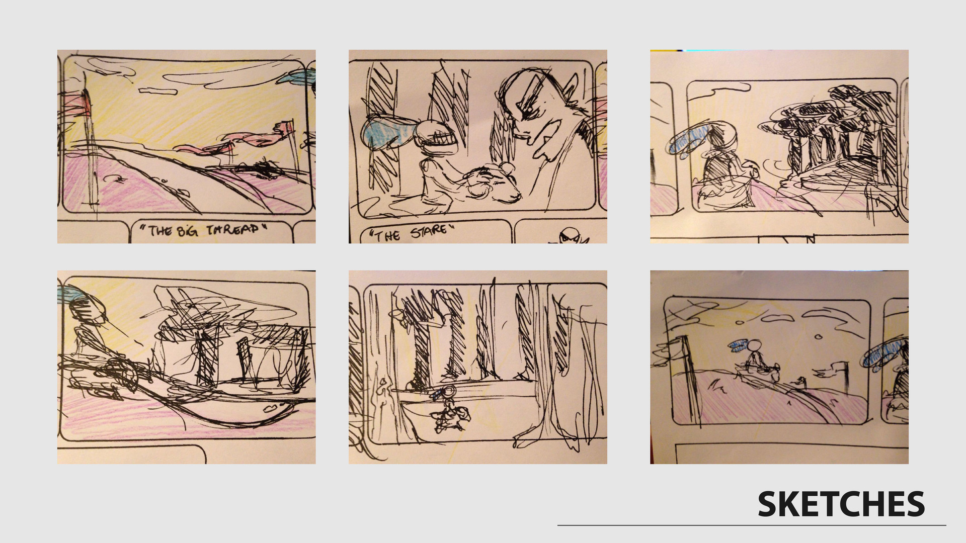First sketches on the storyboard.