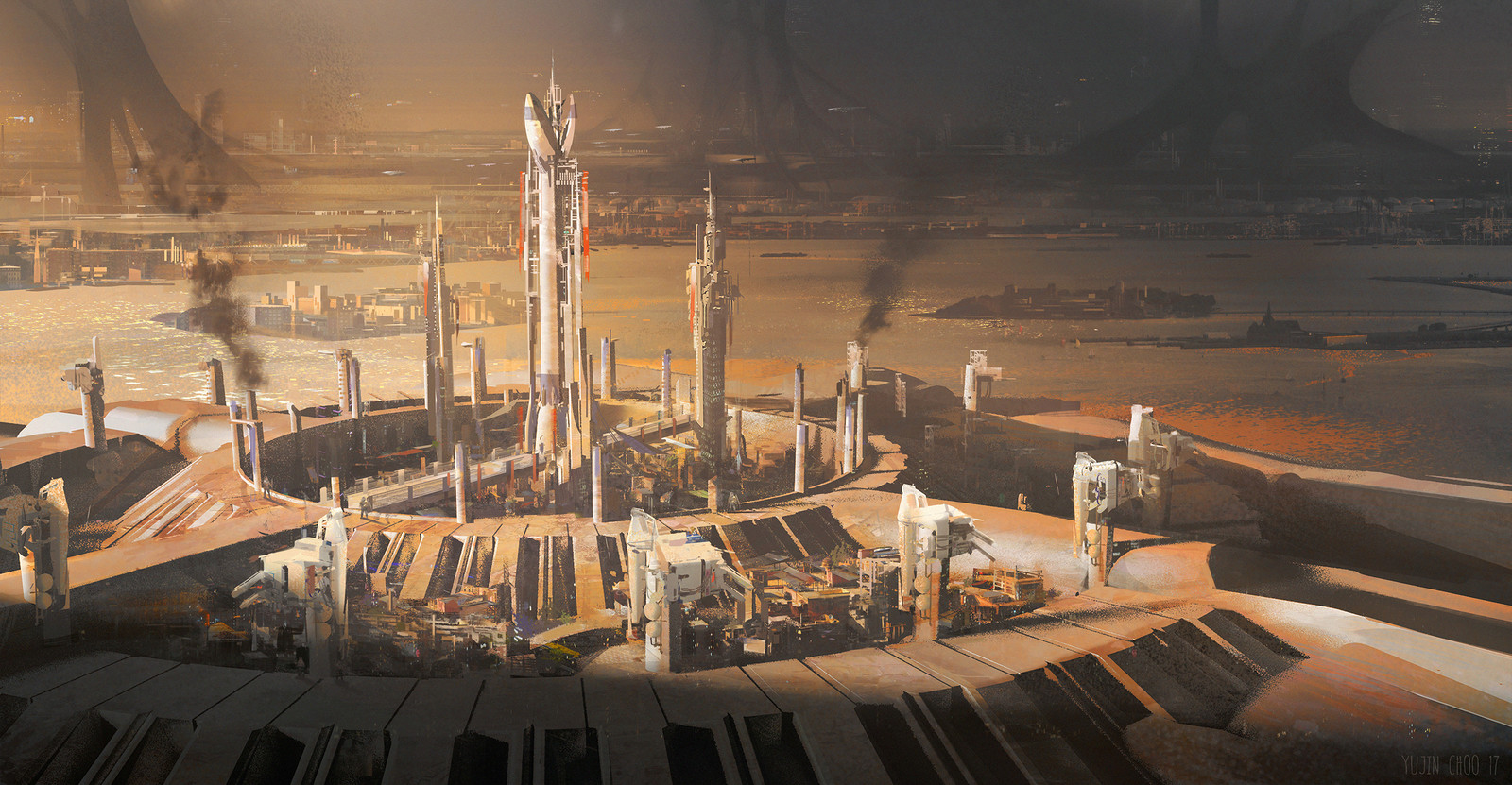painting over 3d shot, mood concept for city that protect from aliens.