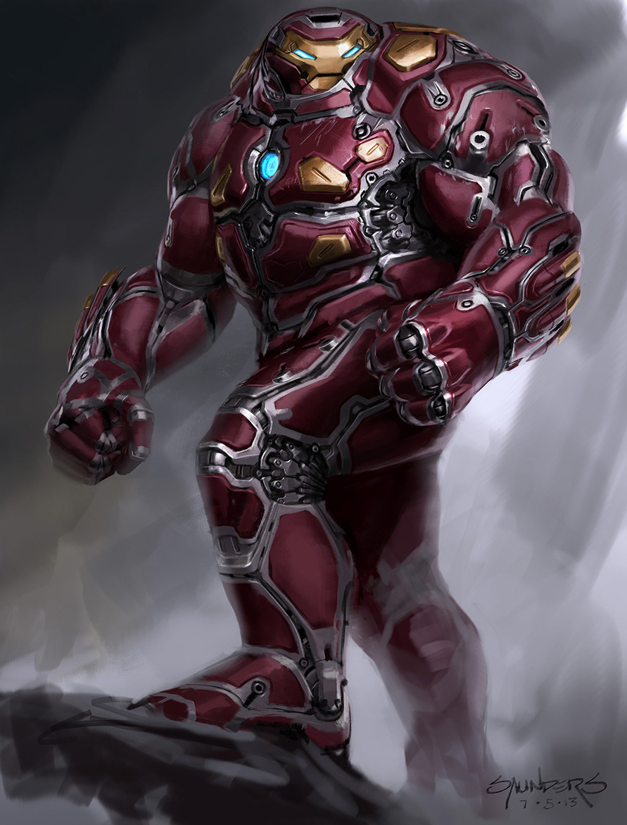 This one's a little out there... playing with the idea of plates floating on some form of shock absorbtion, so he can take a hit. I also modeled this one after the Hulk sculpt from Avengers, to see what Hulk physique might look like on an Iron Man suit.