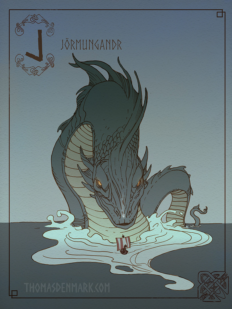 J is for Jörmungandr. Also known as the Midgard Serpent, is a sea serpent so large it can surround the earth and grasp its own tail. When it releases its tail, Ragnarök will begin.