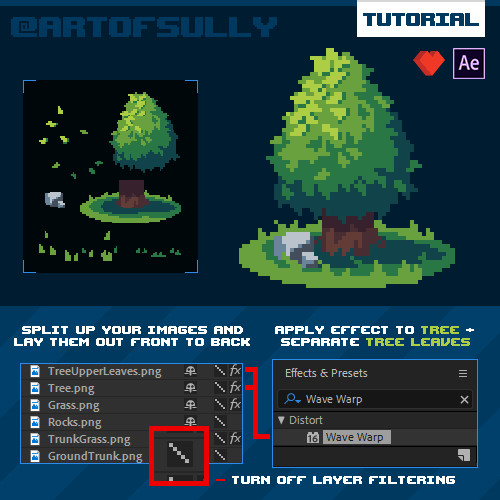 AfterEffects Pixel Animation Hack - Pixel Trees (Tutorial)
