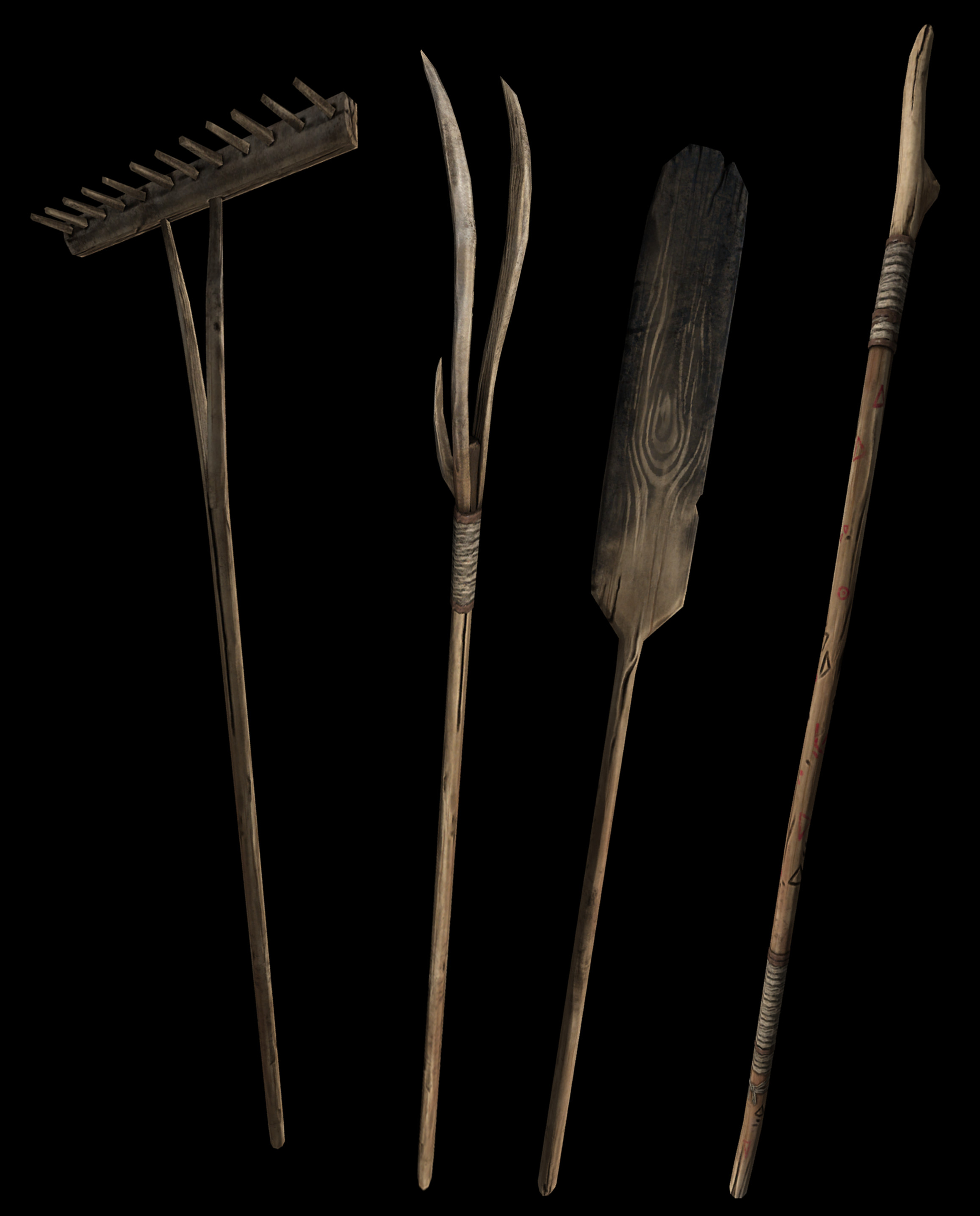 Rake, pitchfork, bread peel, pilgrim's staff