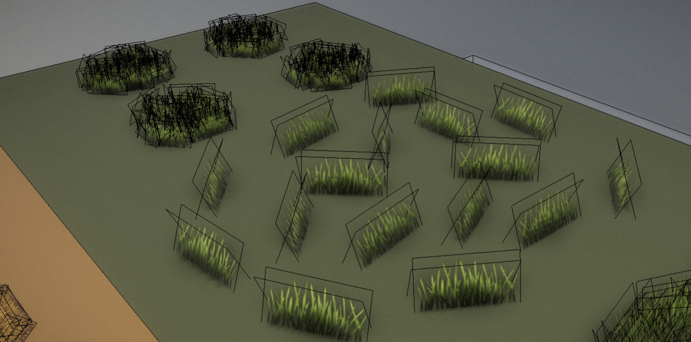 Small grass components wireframe