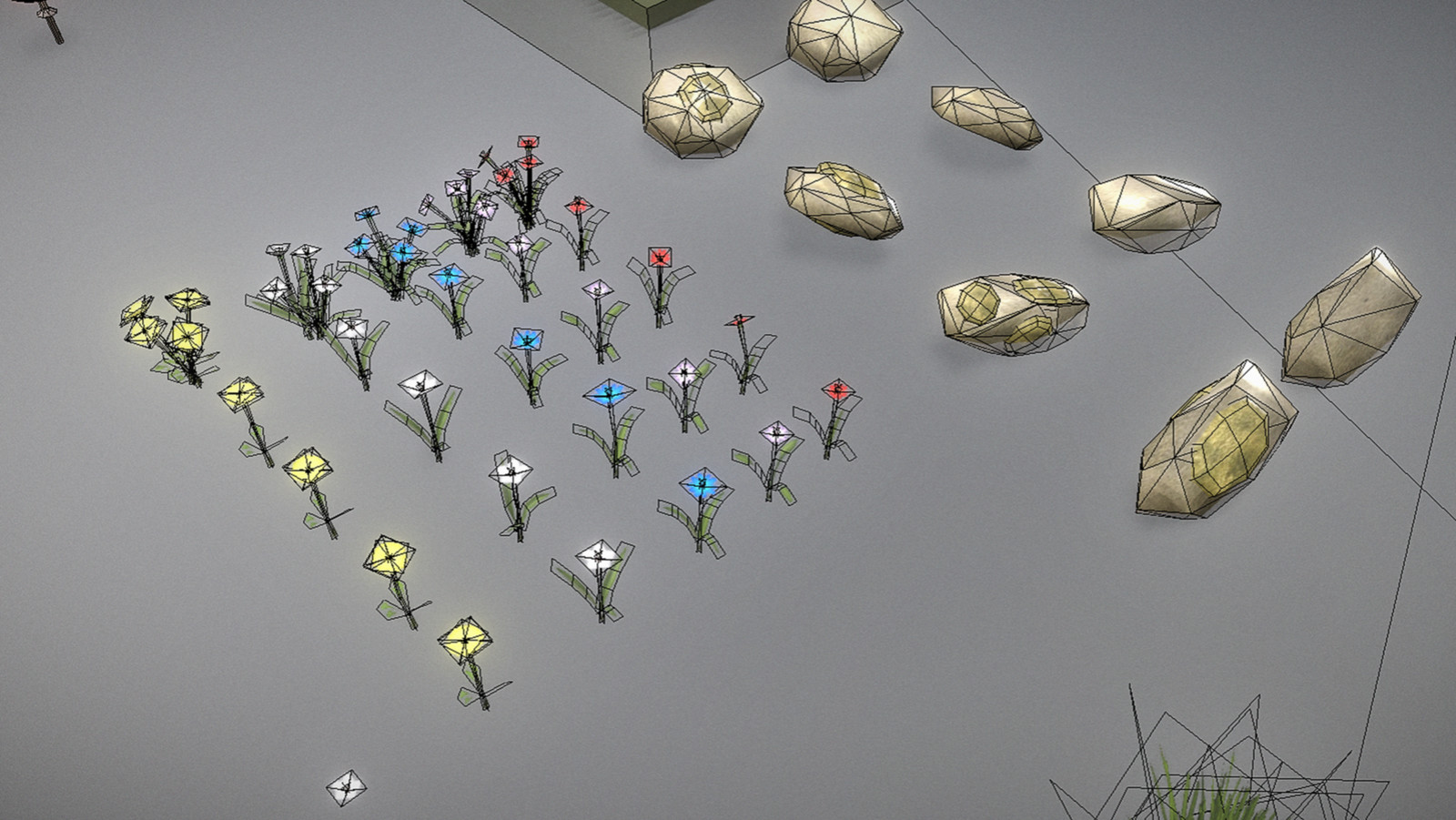 Low-Poly Flowers and stones