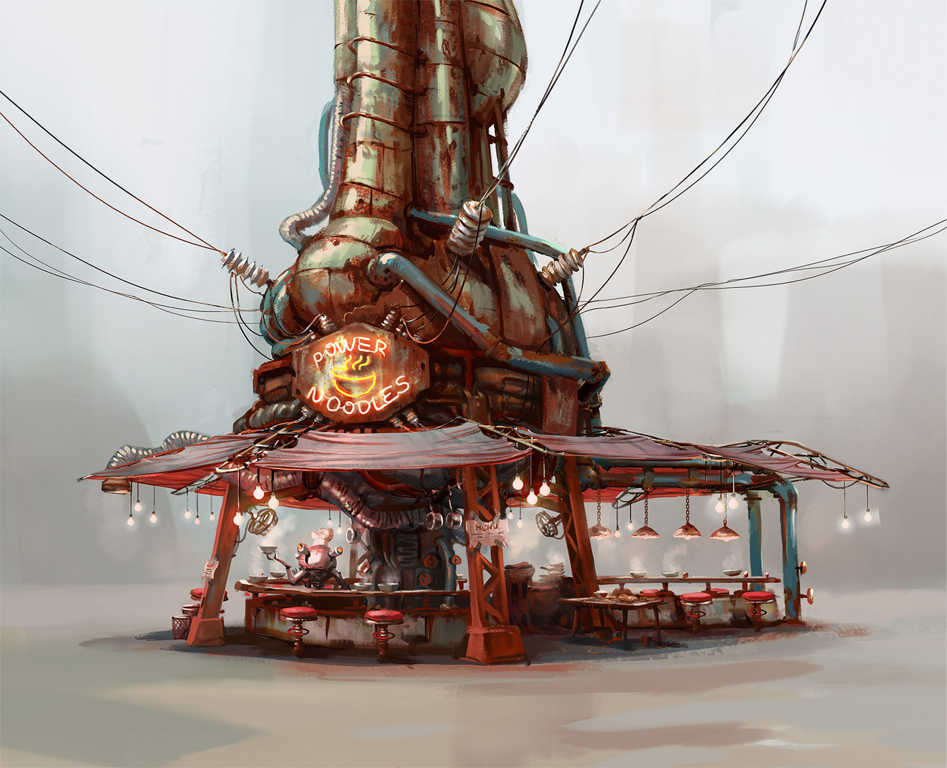 Concept for the Noodle house in Fallout 4 for Bethesda Game Studios.