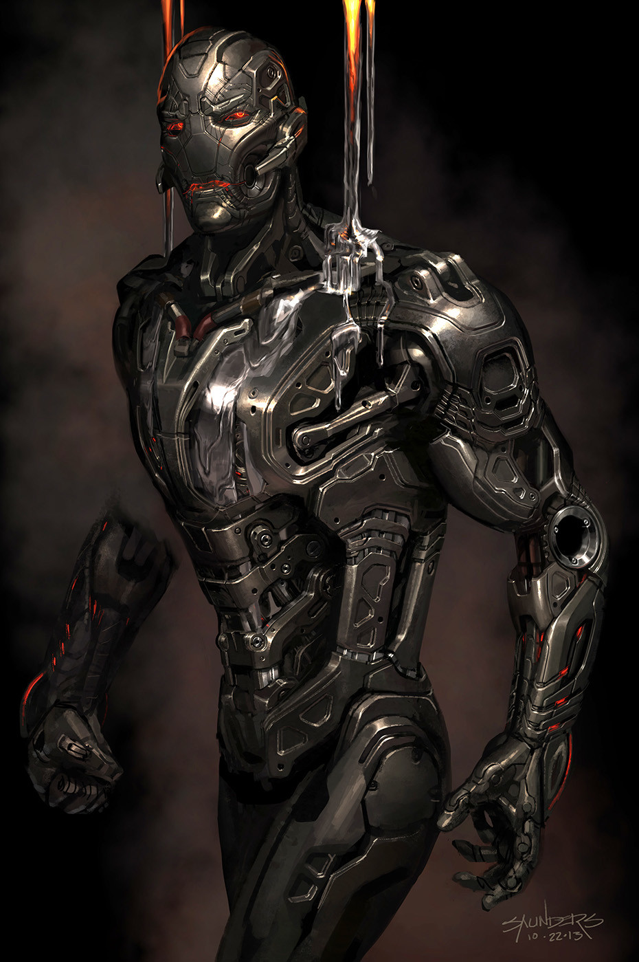 A concept for how Ultron Prime would look with Molten Vibranium pouring onto his body.