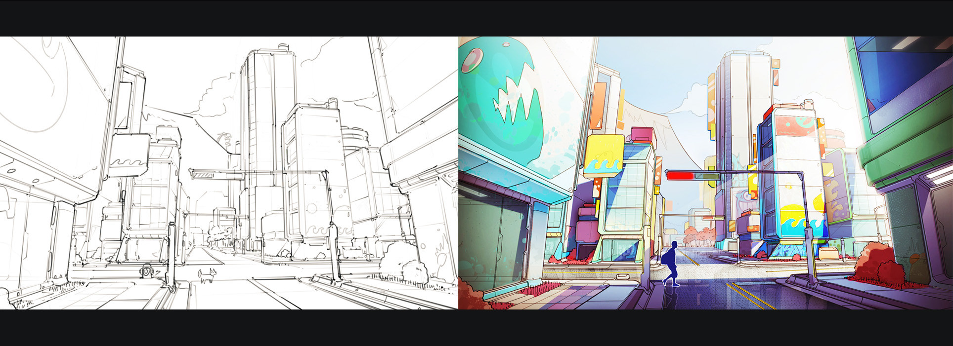 Original concept for the city. First visions were very bright and colorful. Biggest inspiration was 'Sunset Overdrive'.