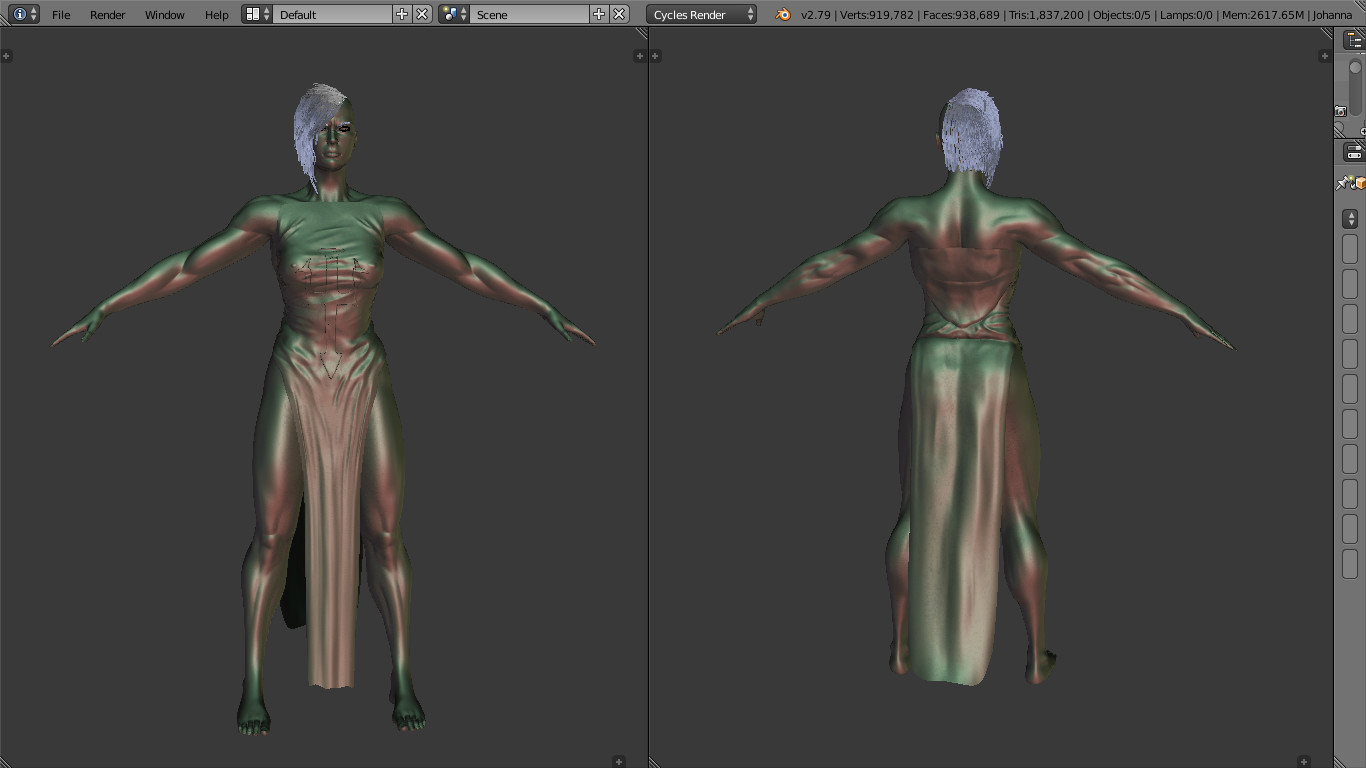 Cloth and body sculpt, high and low resolution with multires modifier.