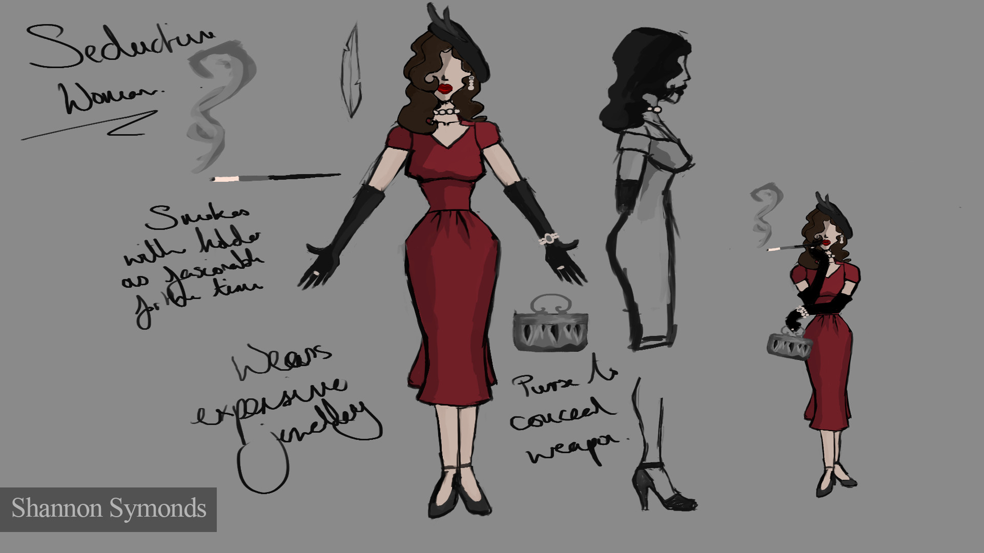 Original concept sketch. Received feedback during the modeling process that the character looked better black and white.