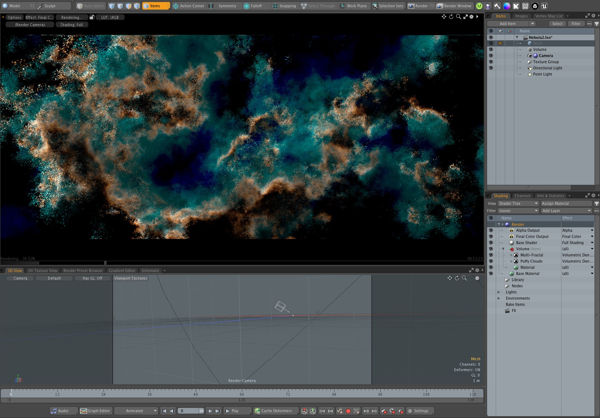 Modo's internal volume was used to create the nebula. There's barely anything more to show actually. I'm using only 2 procedural noises to drive the entire appearance.