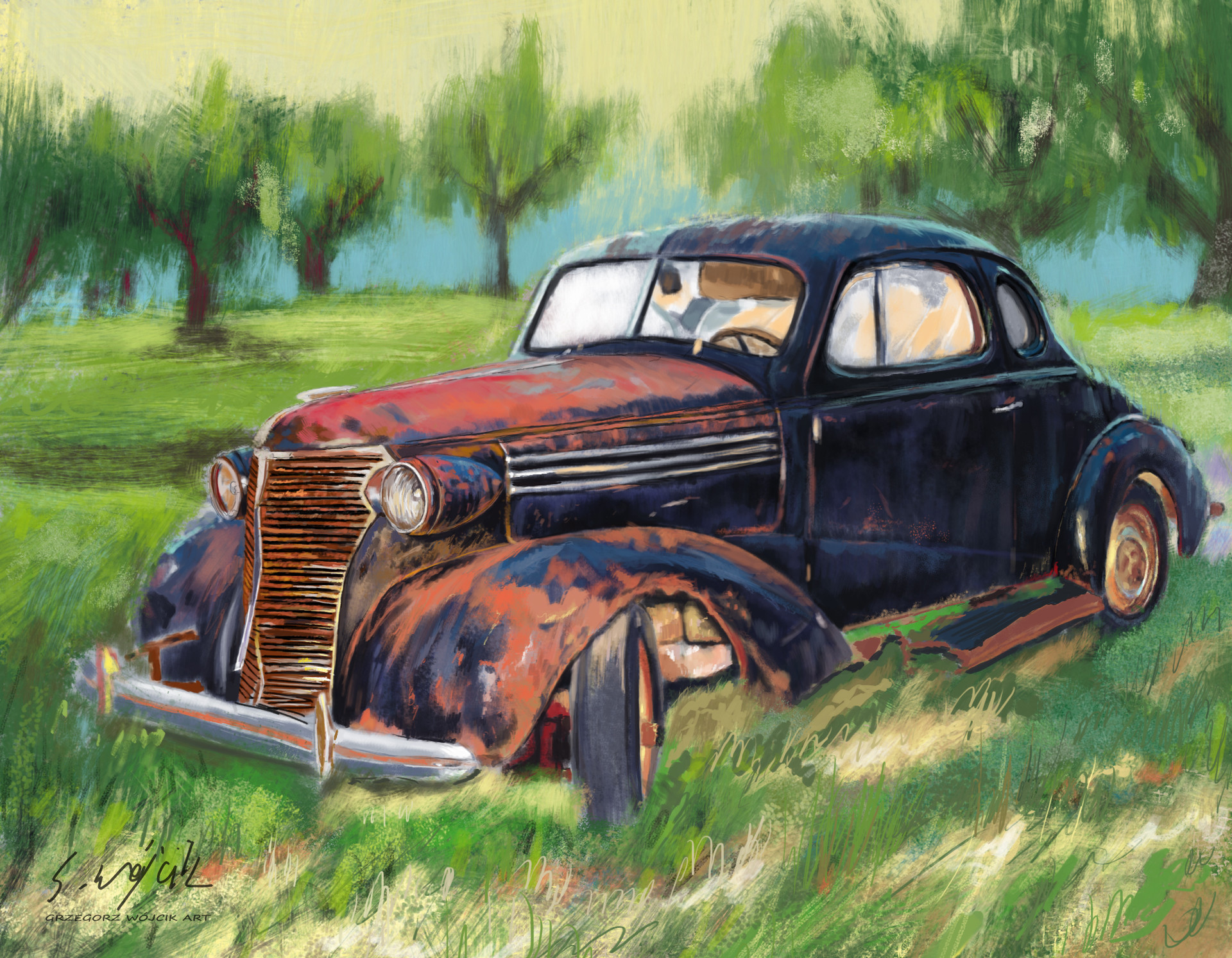 Pic Of Old Cars >> ArtStation - Old Rusty Car , Grzegorz Wójcik