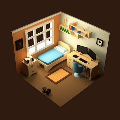 George mavroeidis isometric bedroom