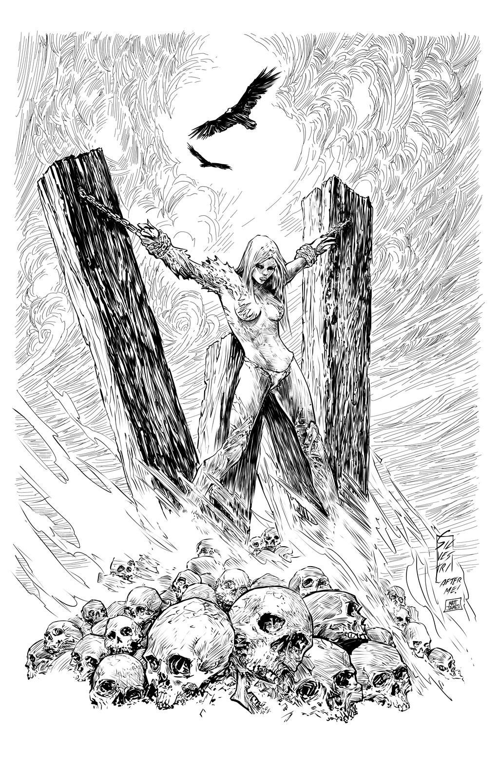 Matt james witchblade 170 cover practice inks by snakebitartstudio dc3jt61