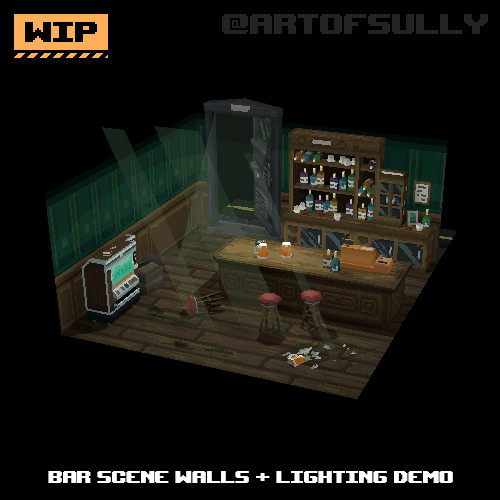 3D Pixel-Art Bar Scene Walls + Lighting Demo (WIP) (Commission)