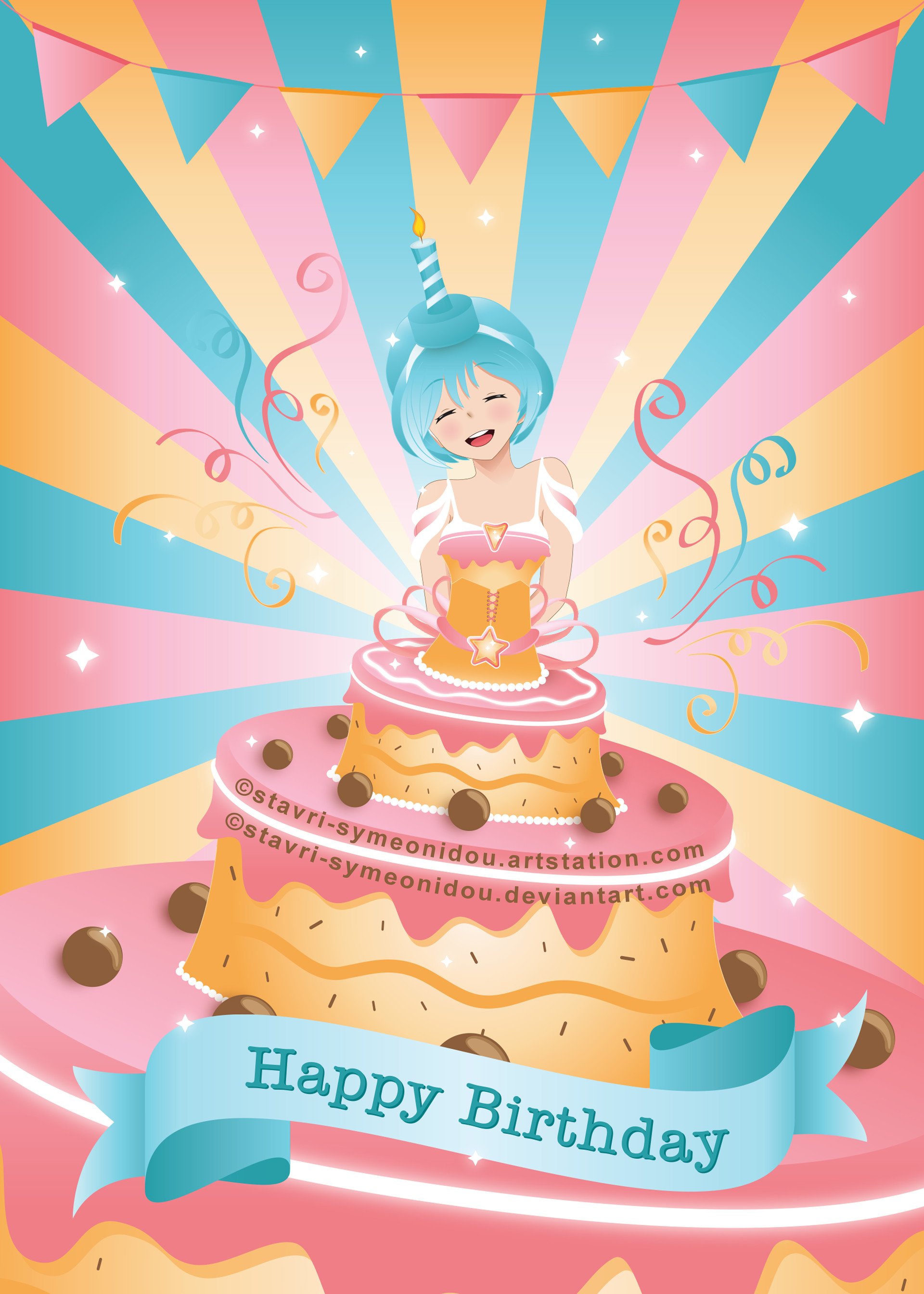 Artstation Happy Birthdayanime Girl Inside A Birthday Cake