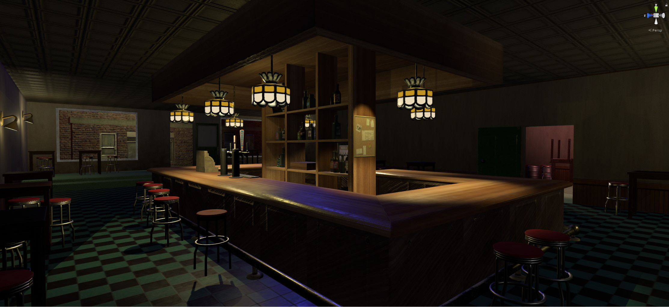 Modeling, texturing and lighting.    Tables, stools, keg and cash register by Dezmond Gipson.