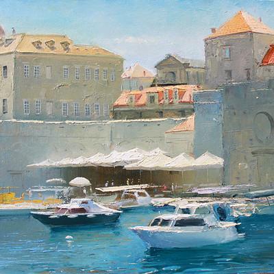 Dubrovnik town harbor