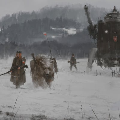 Jakub rozalski 1920 winter patrols
