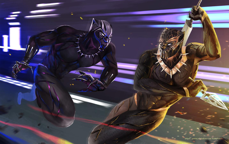 artstation - black panther vs golden jaguar, dimas raviandra