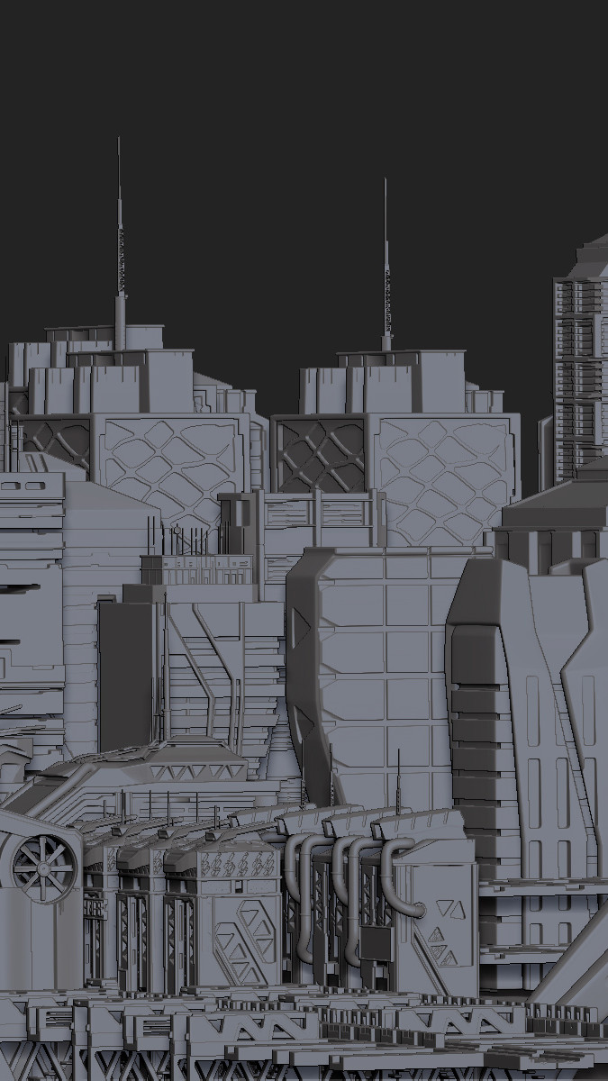 Zbrush 4R8 Beta Cityscape ZBrush Screen