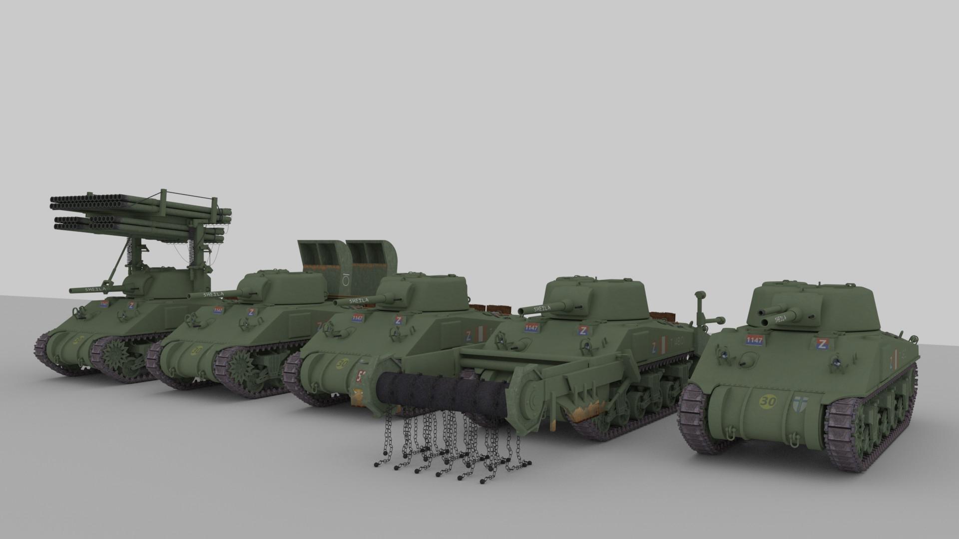 ArtStation - M4 Sherman Tank Variants, Alex Campbell