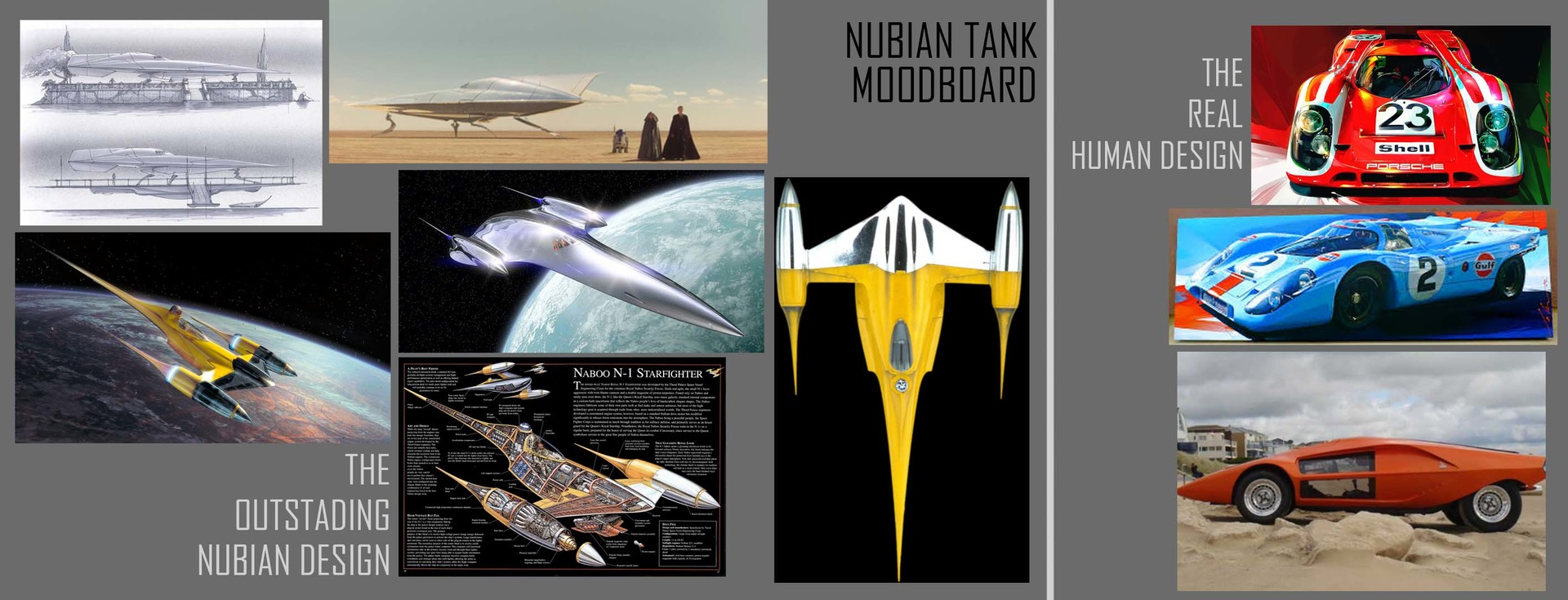 MoodBoard followed, searching for that balance of real and sci-fi, I love the N-1, and it's beautiful spitfire belly. Made by the talented guys at the Nubian Design Collective, or in real life Doug Chiang and friends.