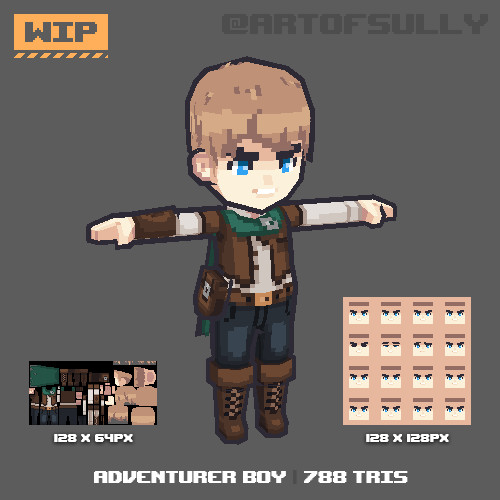 3D Pixel-Art Adventurer Boy (WIP)