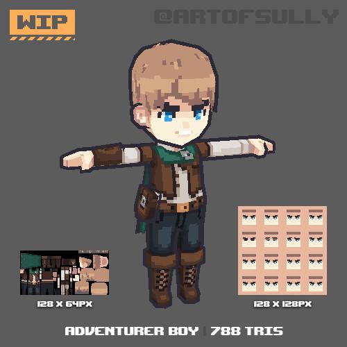 3D Pixel-Art Adventurer Boy (WIP)