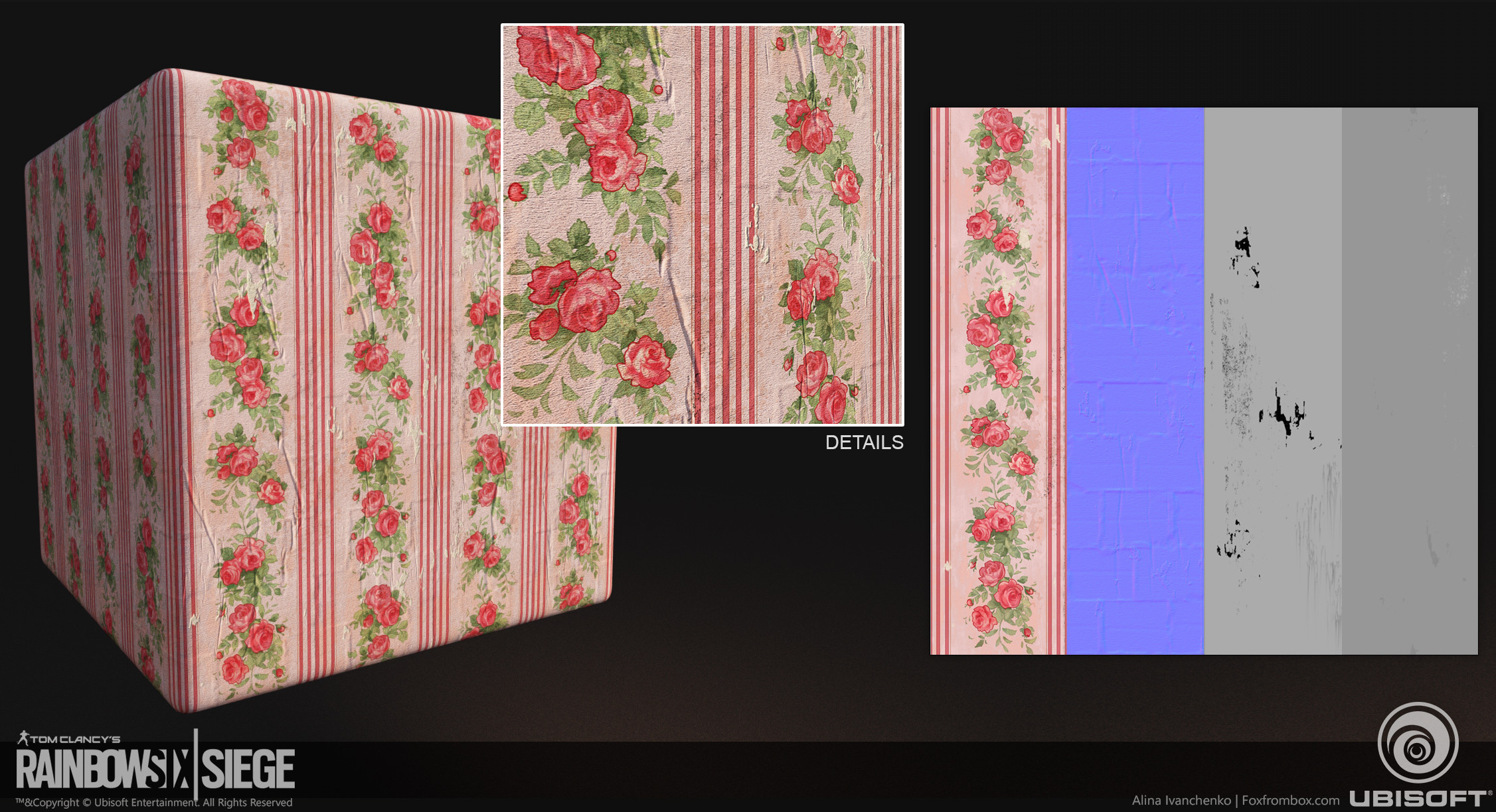 Rose wallpaper  I want to achive old Grand ma  wall papaer style  It ment to be glue over brick wall and blend with it with a blend mask  Ornament made by me as well.