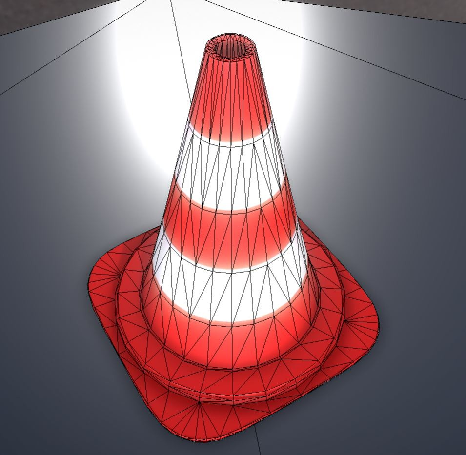 Traffic cones low poly pylons. 912 triangles.